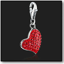 925 Sterling Silver Red Heart clip on Bracelet Charm Swarovski Crystal Charms 3D