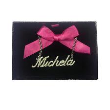 Collana nome MICHELA con strass in acciaio 40 cm con scatolina regalo by VIRCA