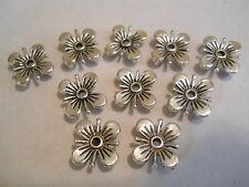 25 SILVER PLATED SQUARE FLOWER DESIGNER TIBETAN 2 HOLE SLIDER SPACER BEAD BAR
