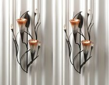 Candle Wall Sconces Dawn Lilies w/ Two Cup Candle Holders Set of 2