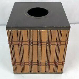 Rattan Bamboo Bathroom Tissue Box Cover Holder Bronze Accent Tiki Modern Jungle