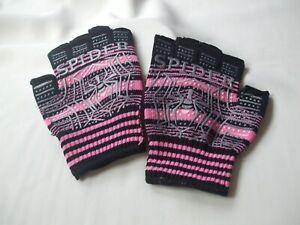 Halloween Fingerless Gloves Spider Theme, Pink & Black New