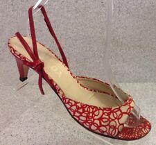 Prada Women's Kitten Heels Size 37 Red White Fabric Sling back Dressy Formal