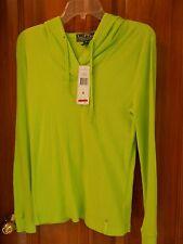 NWT Lauren Ralph Lauren Active Medium Neon Green Fashion Hoodie, 100% Cotton $64