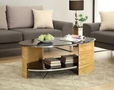 Jual Furnishings JF301 Retro Curved Oval Coffee Table - Walnut & Black Glass