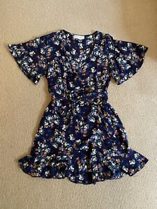 MYTH CONCEPTION (Urban Outfitters) Wrap Navy Floral Print Dress Size 12