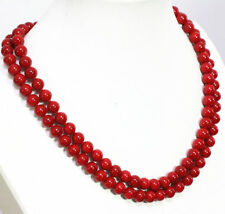 "Long 36"" 6-7mm Natural Japan South Sea Red Coral Gems Round Beads Necklace AAA"