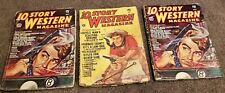 Lot of 3 Vintage pulp 10 Story Western Magazines May 1946, Oct 1949