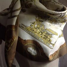 """foulard carré HERMÈS  """" Traîneaux Et Glissades"""" 100% Soie Vintage"""