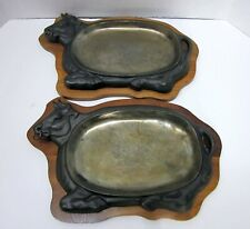 2 Bull Steer Steak Fajita Sizzler Plates With Wood Trivets-Free Shipping