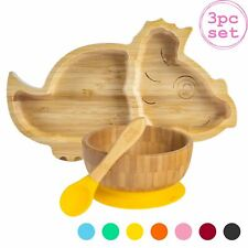 Children's Bamboo Dinosaur Plate, Bowl, Spoon & Suction Cups Eco-friendly Yellow