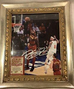 Lebron James Gold Framed Auto Signed 8x10 photo Cleveland Cavaliers NBA COA