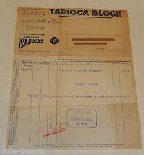 Ancienne Facture 1939 : TAPIOCA BLOCH - Farines de Régime - Fécules RAPIDOATS