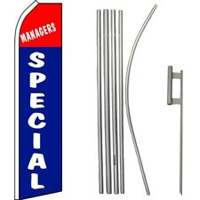 Managers Special Red / White /Blue Swooper Flag & 16ft Flagpole Kit/Ground Spike