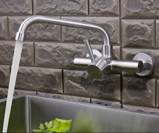 Stainless Steel Wall Mounted Mixer Water Kitchen Sink Faucet Swivel Spout Tap