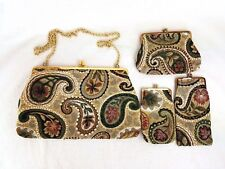 Vtg Arraiolos Portuguese Handmade Wool Tapestry Handbag Purse w/Wallet + 2 Cases