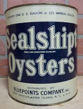 Old SEALSHIPT OYSTERS Advertising Tin Bluepoints Co Sayville Long Island NY USA