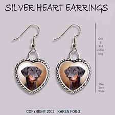 Doberman Pinscher Black Natural Ear Dobie - Heart Earrings Ornate Tibetan Silver