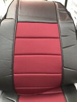 Seat Cover w/Pocket Black-BurgundyFaux Leather Peterbilt Freightliner Semi Truck