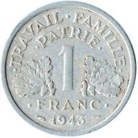 COIN / FRANCE / 1 FRANC 1943  #WT3449