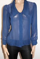 SUPRE Brand Navy Chiffon Collar Long Sleeve Shirt Top Size S BNWT #SY103