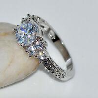 Vintage 2 Ct Round Cut Diamond Filigree Engagement Ring 14K White Gold Finish