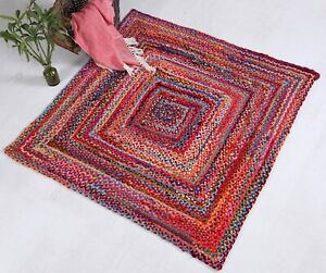 SUNDAR Braided Square Rug Hand Made Flat Weave with Multi Colour Recycled Fabric