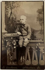 Cabinet Card Well Dressed Blond Young Boy~Wool Suit~Kickers Fancy Silk Tie~Boots