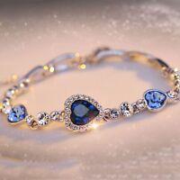 Women Ocean Blue Rhinestone Crystal Love Heart Bangle Bracelet Gift Fashion