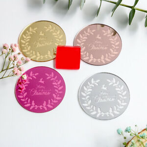 5x Merry Christmas Cupcake Toppers Acrylic Round Cake Insert Gift Card Party DIY