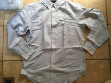 "NWT Lot (2) Lands End ""Hyde Park"" light blue dress shirt with ATT logo, size L/T"