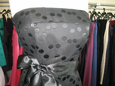 DEBUT/DEBENHAMS BLACK SPOTS SILK COCKTAIL/PROM/EVENING/CRUISE/50'S DRESS 6/8
