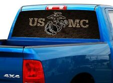 P477 USMC Marines Rear Window Tint Graphic Decal Wrap Back Truck Tailgate