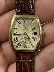 Stunning Vintage Vicence Solid 14K Yellow Gold Unisex Wrist Watch Original Band