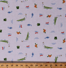Alligators Later Gator Turtles Frogs White Jersey Knit Fabric Print BTY D346.07