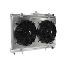 2Row Aluminum Radiator &Shroud&Fans Fit NISSAN SKYLINE RB25DET R33 R34 GTS-T MT