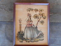 Victorian Lady Print Unknown artist Vintage Used AS IS framed Shabby Country