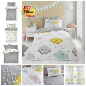 DUVET COVER SET KIDS CLOUDS Reversible Bedding Quilted Fitted Sheet OR Curtains
