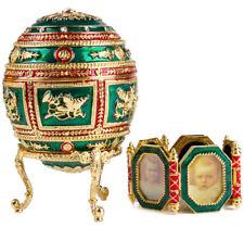 Faberge Egg Replica Made Russia Gift Box Napoleonic Egg w/Portrait Frames Green