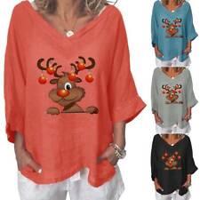 Plus Size Womens Christmas T-Shirt Blouse Xmas Elk V-Neck 3/4 Sleeve Loose Tops