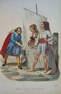 BELLE LITHO COSTUME COULEURS NAPOLI NAPLES ITALIE MARIN FEMME HOMME BATEAU 1830