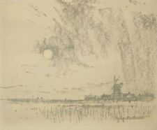 Crayon drawing 'Medmerry, Selsey, Sussex' pencil signed Norman Battershill