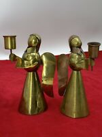 Pair Of Brass Copper Angel Candle Holder Made in Mexico Hand Made Etched Vintage