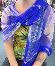 Silky Colourful Indian Thin Scarf Wrap With Beads White Base Tie Dye Blue