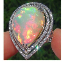 Large Fire Opal 925 Sterling Silver Filled Gems Women Jewelry Ring Wedding Gift