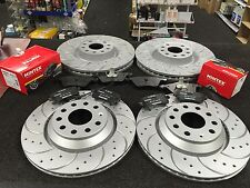 VW GOLF MK6 GTD TDI 6 SPEED BRAKE DISC CROSS DRILLED GROOVED BRAKE PAD FRONTREAR