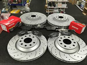 VW PASSAT CC TSi TDi CROSS DRILLED GROOVED BRAKE DISCS PADS FRONT REAR SET