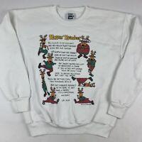 VTG 90s Ugly Christmas Sweatshirt Rappin Reindeer Large Santa Hip Hop Music USA