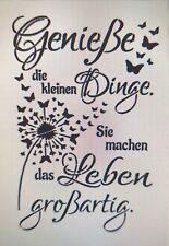 Shabby Schablone Möbel Wand Stoff Farbe Schild Spruch Genieße Dinge Leben Zitat