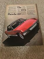 Vintage 1974 PORSCHE 2.0 Car Print Ad 1970s RED RARE
